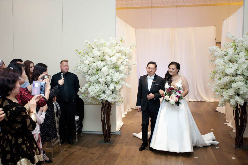 bride down the aisle wedding ceremony at Venetian Banquet Hall