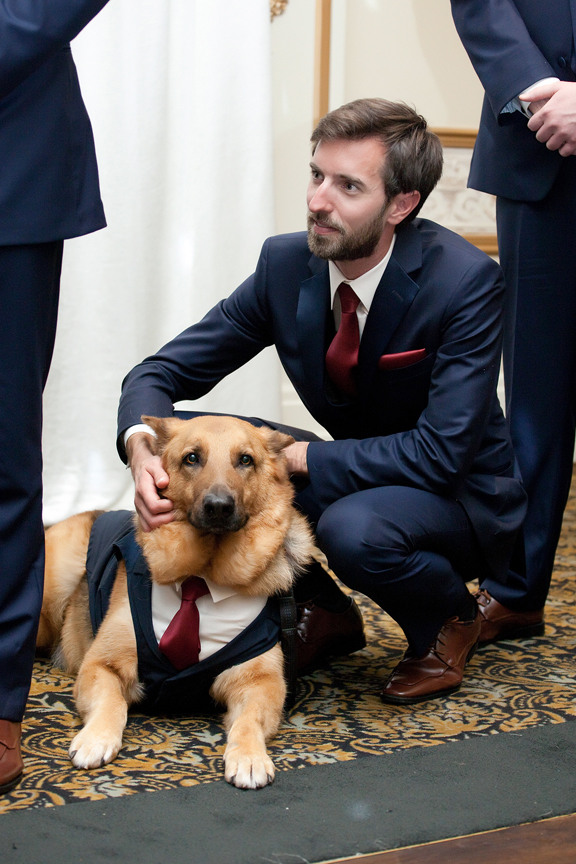 dog groomsmen wedding ceremony at Venetian Banquet Hall