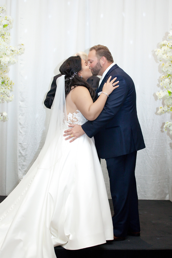 first kiss wedding ceremony at Venetian Banquet Hall