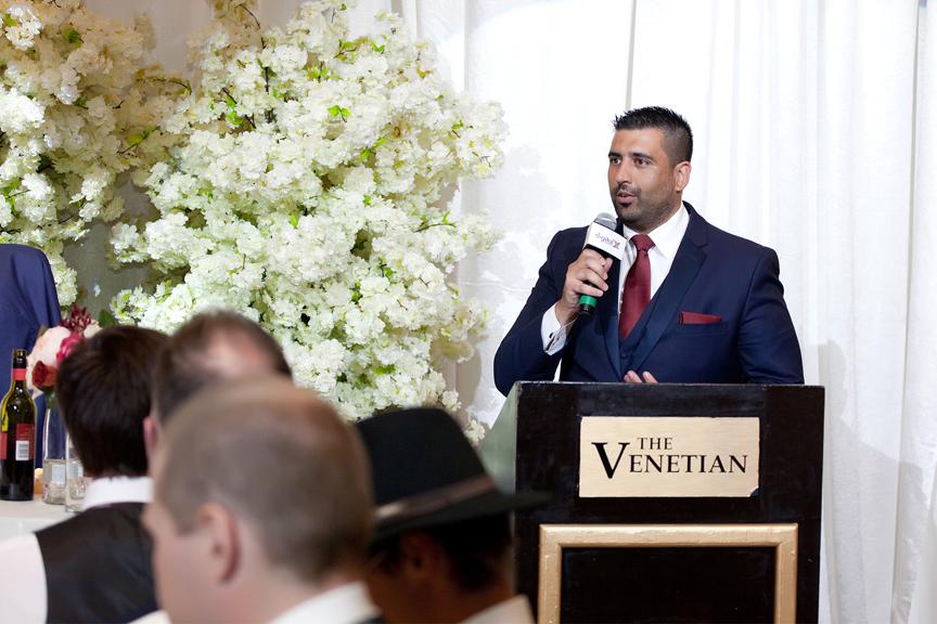 best man speech wedding reception at Venetian Banquet Hall