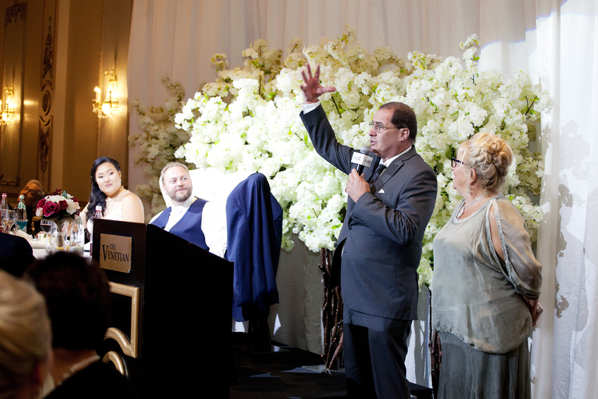parent's speech wedding reception at Venetian Banquet Hall