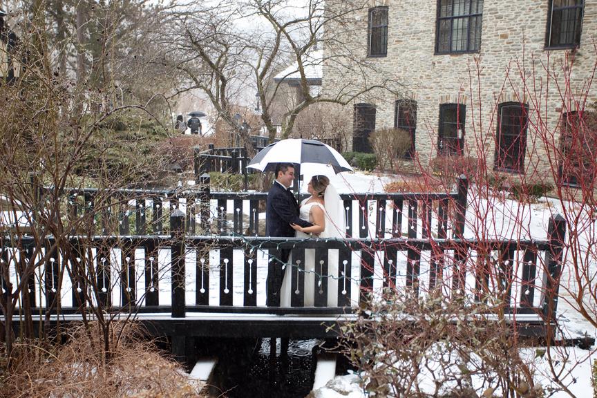 winter wedding portrait Old Mill Toronto