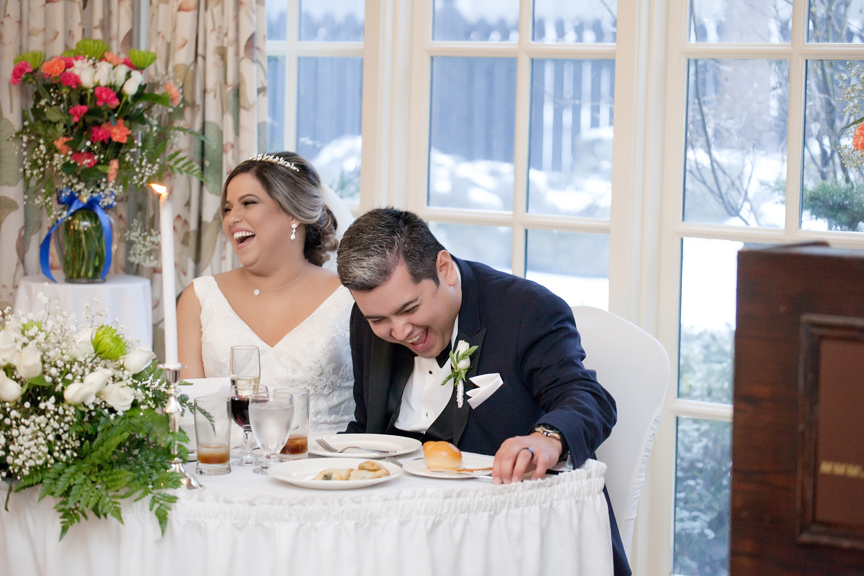 laughing couple wedding reception at Old Mill Toronto