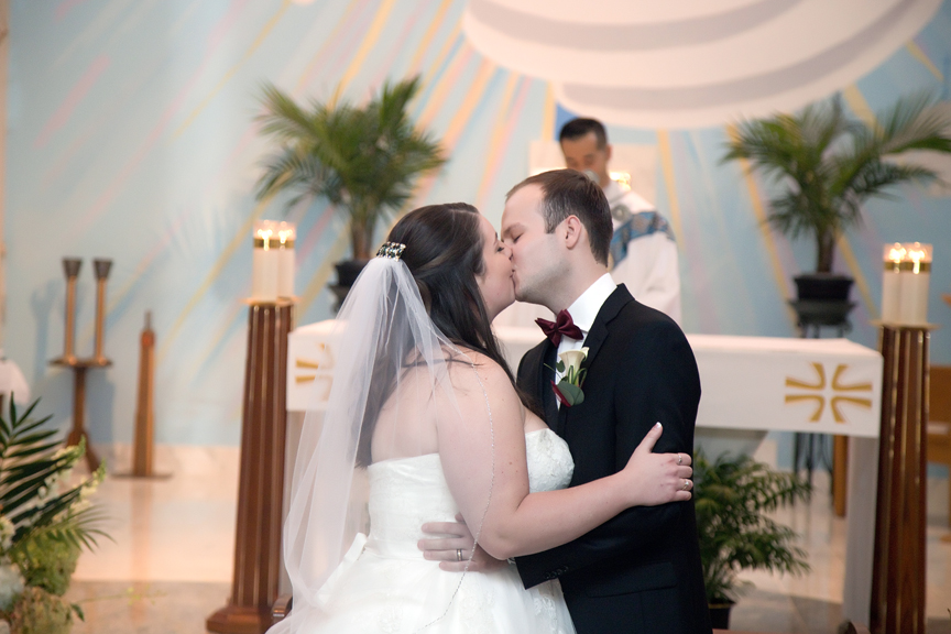 first kiss wedding ceremony St Joseph the Worker Parish