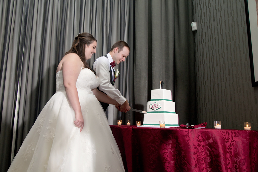 cake cutting wedding reception at Ajax Convention Centre