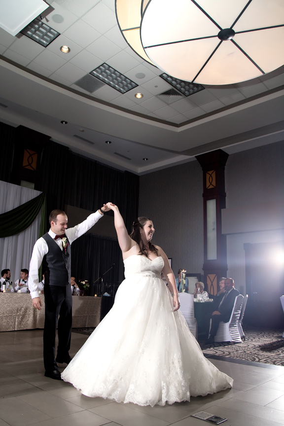 couple's first dance wedding reception at Ajax Convention Centre