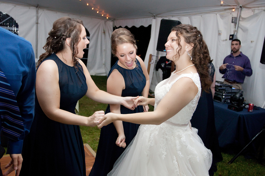 dance party bride and sisters Vermont wedding reception