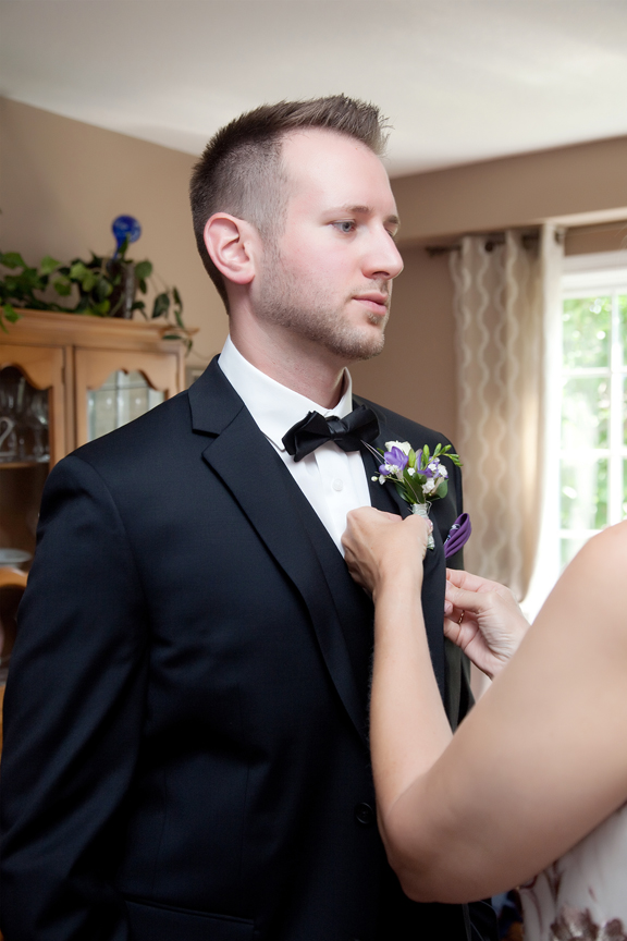 groom prep boutonniere