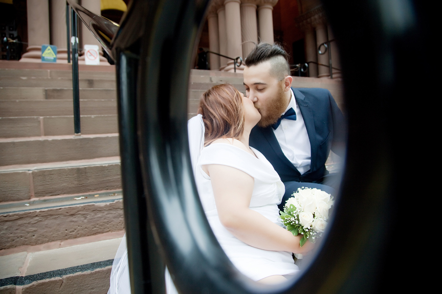 bride and groom at old Toronto City Hall