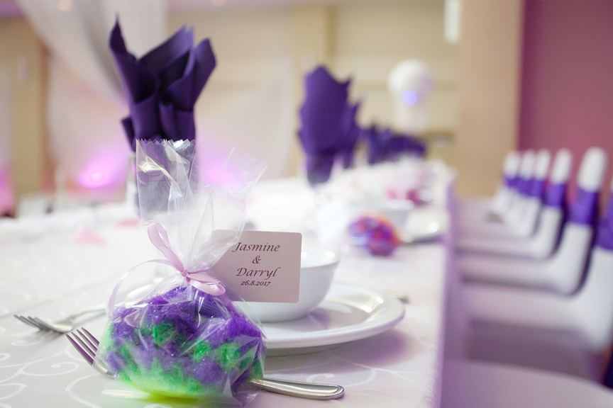 place setting wedding reception at Trinity Banquet Hall
