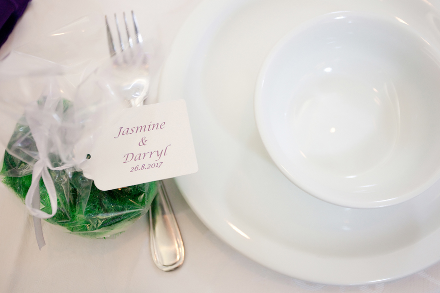 party favours wedding reception at Trinity Banquet Hall