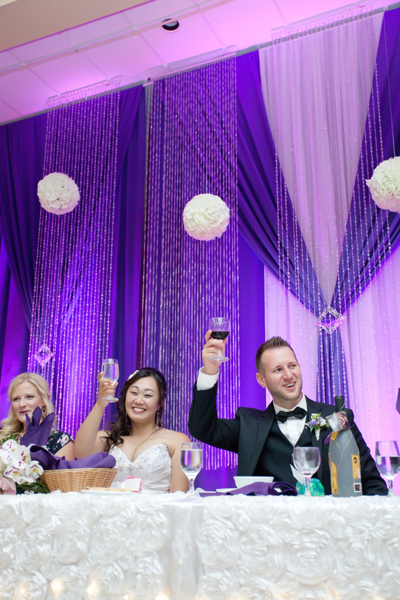 toasts wedding reception at Trinity Banquet Hall