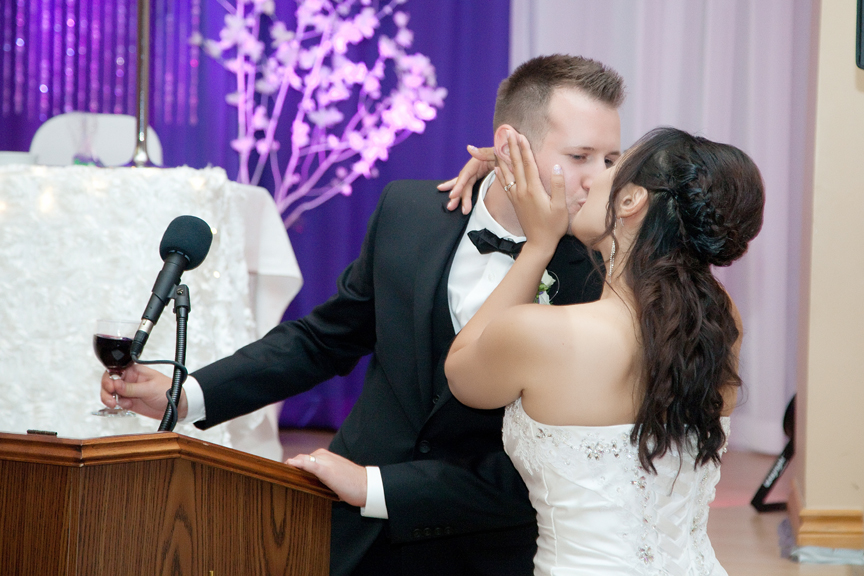 couple's speech wedding reception at Trinity Banquet Hall