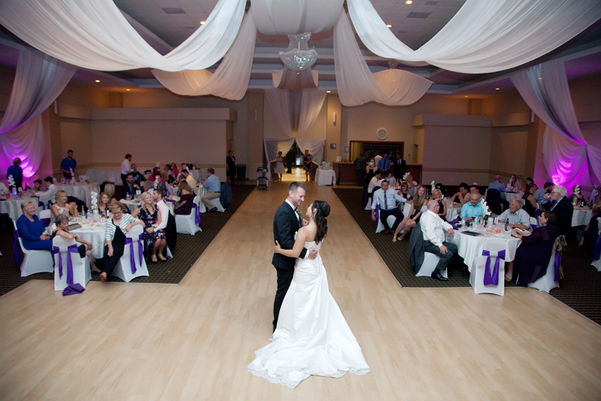 couple's first dance wedding reception at Trinity Banquet Hall