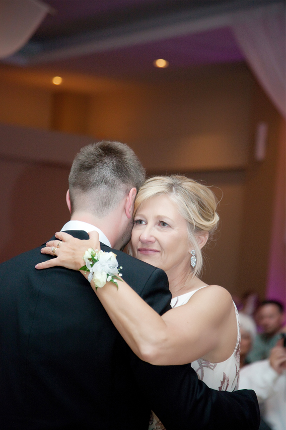 mother son dance wedding reception at Trinity Banquet Hall