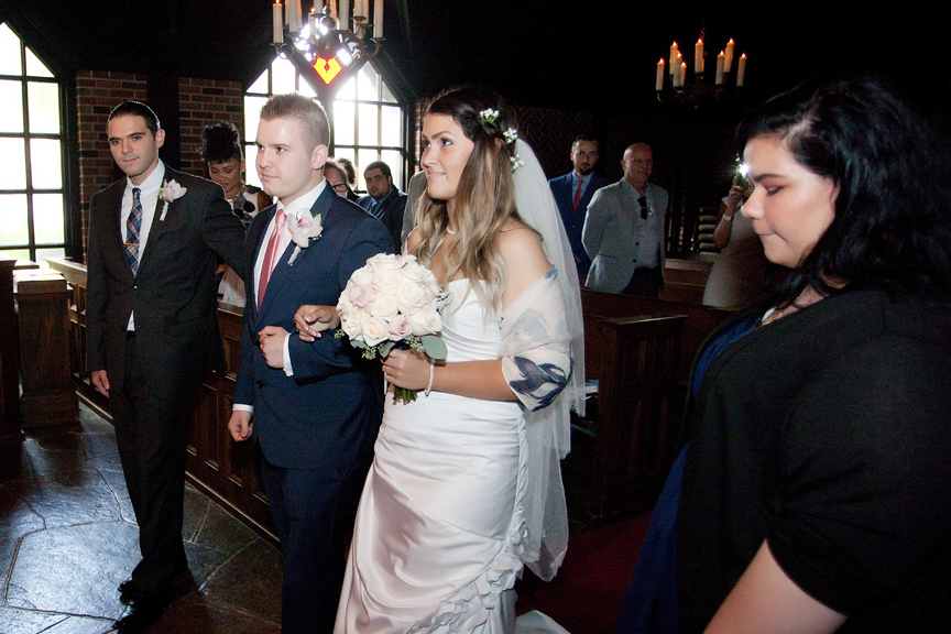 bride down the aisle wedding ceremony at Old Mill Toronto