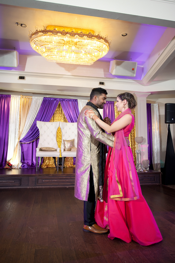 couple's first dance Indian wedding reception at Bombay Palace