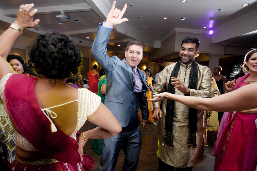 dance party Indian wedding reception at Bombay Palace