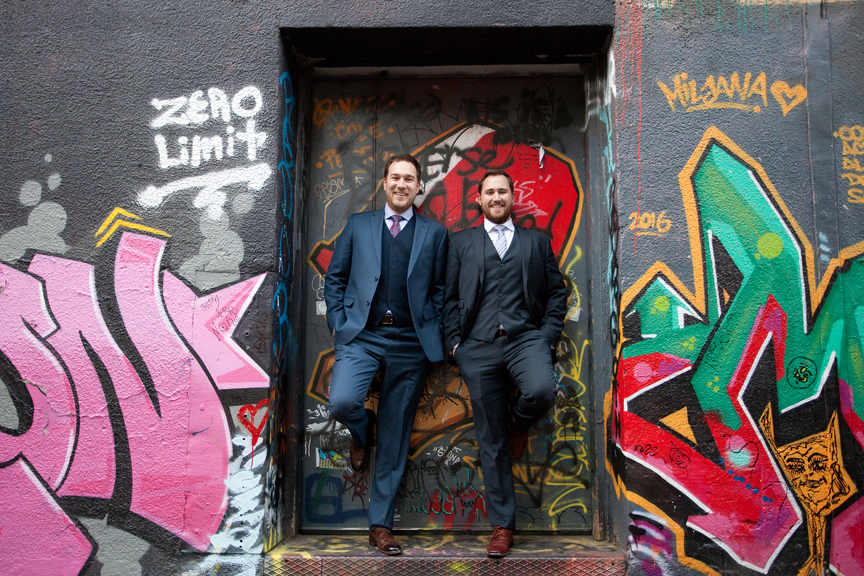 groom and brother graffiti alley
