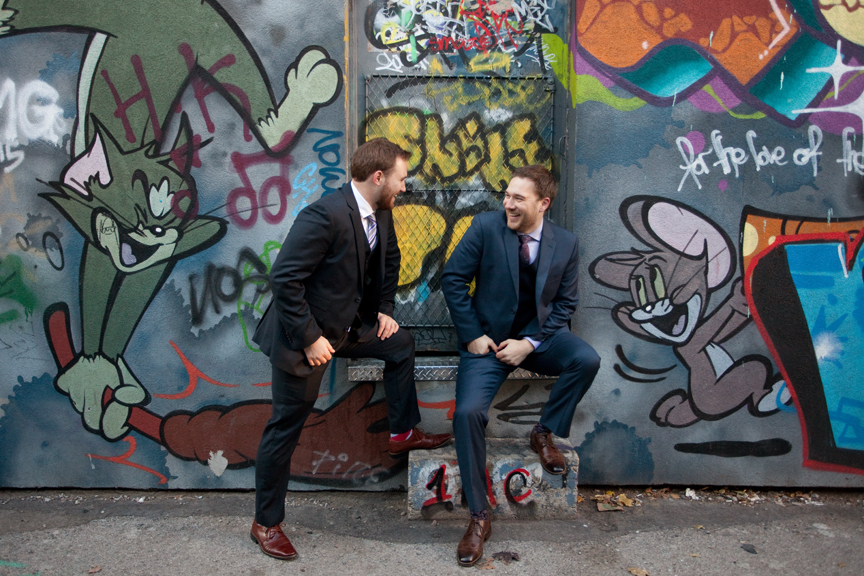 groom and best man graffiti alley