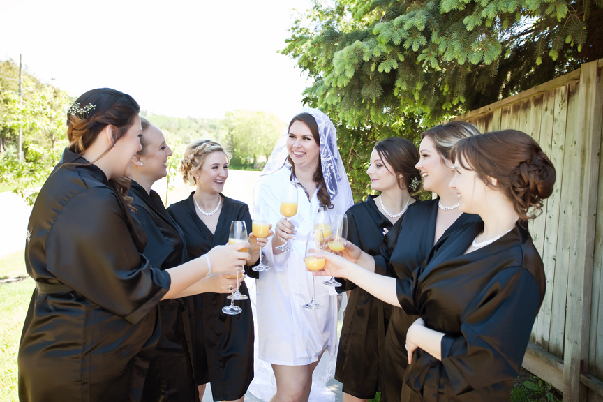 bride prep wedding robes and drinks