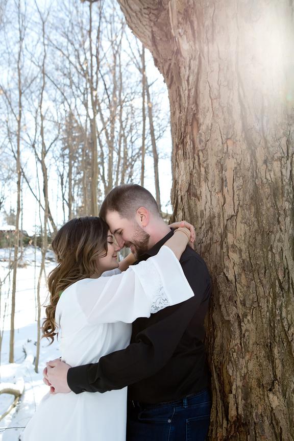 winter wedding portrait bride and groom