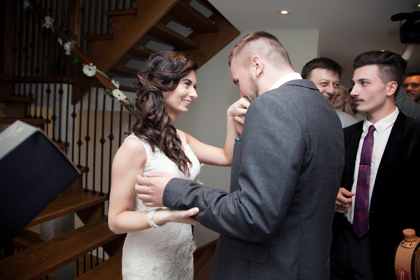 bride and groom first look Mississauga Grand