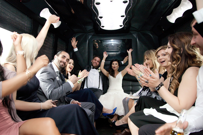 bridal party in limo