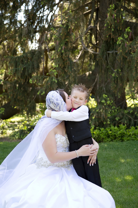 bride and ring boy wedding portrait at Parkwood Estate