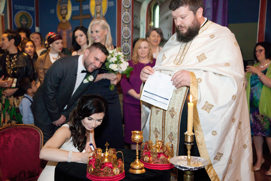 signing marriage contract wedding ceremony Serbian Holy Transfiguration Monastery