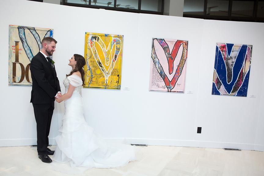 Columbus Centre art gallery wedding portrait