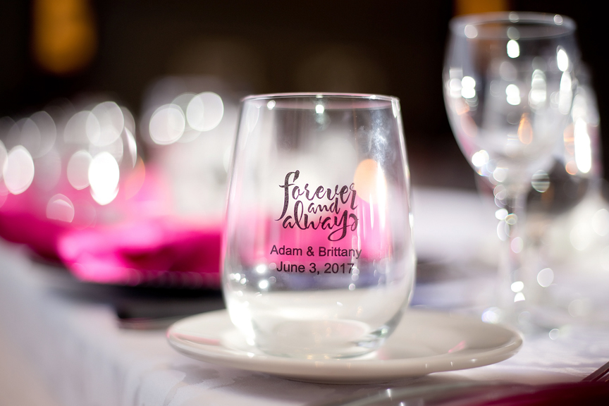 custom glass decor wedding reception at Ajax Convention Centre