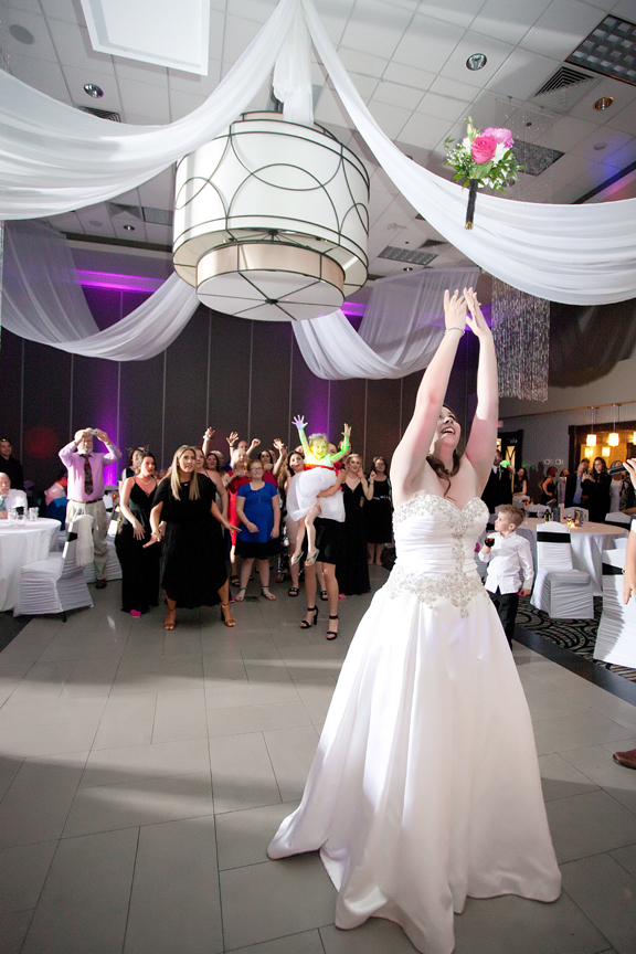 bouquet toss wedding reception at Ajax Convention Centre