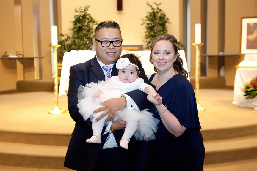 Milestone Event Photography Baptism at St Peter's Roman Catholic Church parents