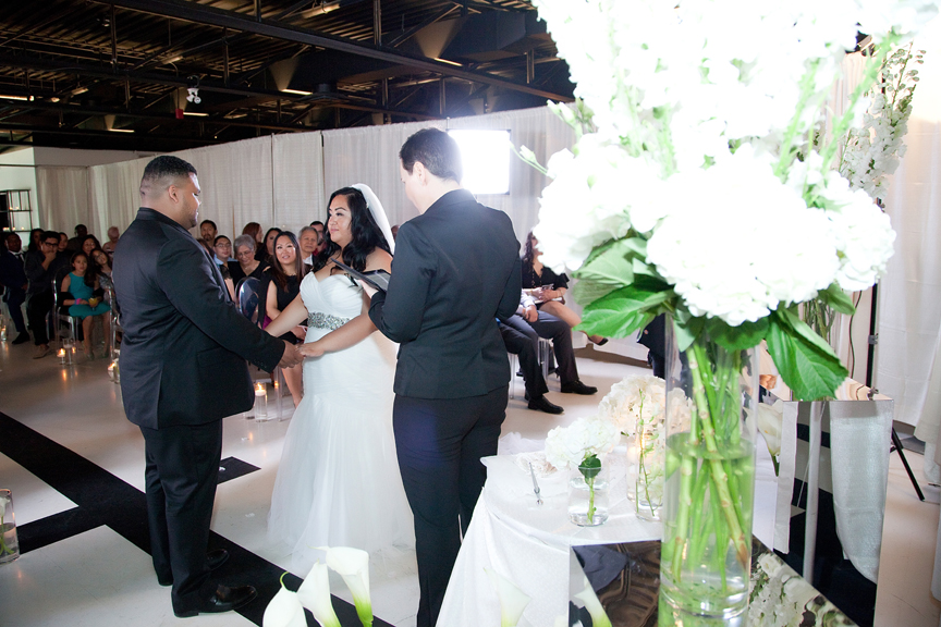 wedding ceremony at Canvas Event Space
