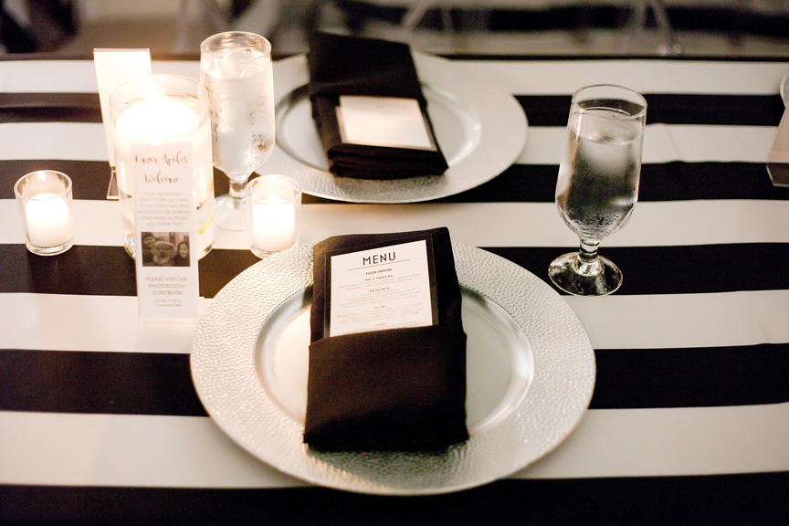 place setting decor wedding reception at Canvas Event Space