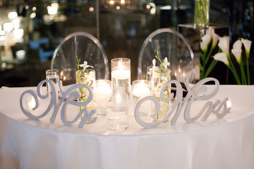 sweetheart table wedding reception at Canvas Event Space