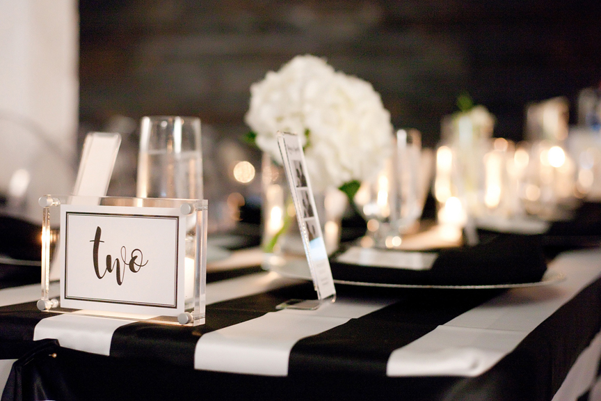 table decor wedding reception at Canvas Event Space