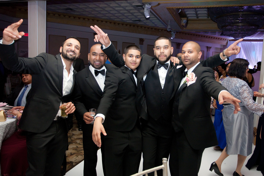 groomsmen wedding reception at Claireport Place