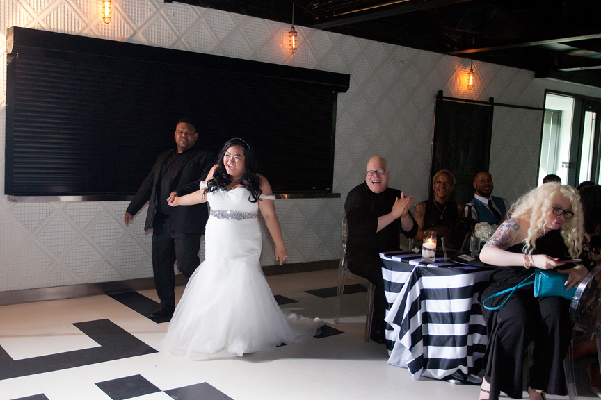 grand entrance wedding reception at Canvas Event Space