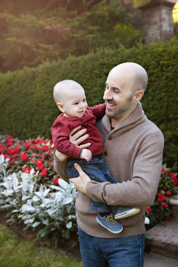 outdoor milestone portrait baby and parents