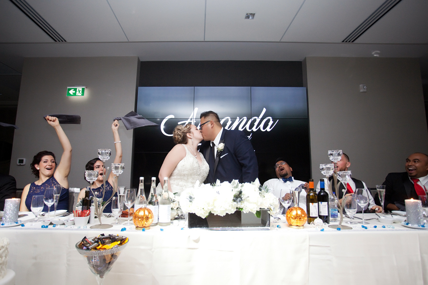 kissing game wedding reception at Universal EventSpace