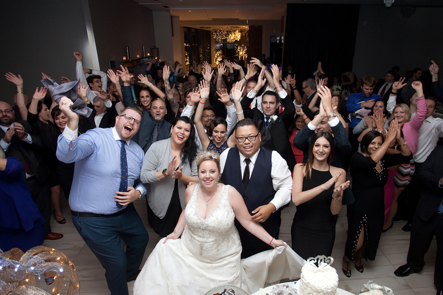group photo wedding reception at Universal EventSpace