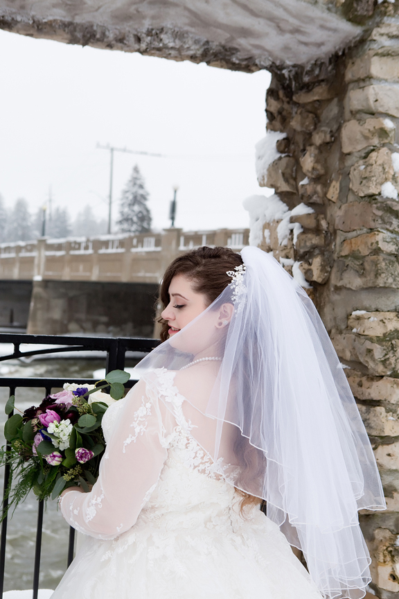 bride winter wedding portrait at Mill Race Park