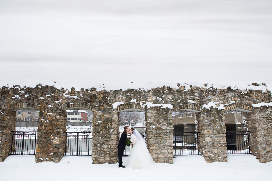 bride and groom winter wedding portrait at Mill Race Park