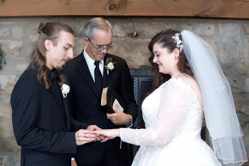 ring exchange wedding ceremony at Cambridge Mill