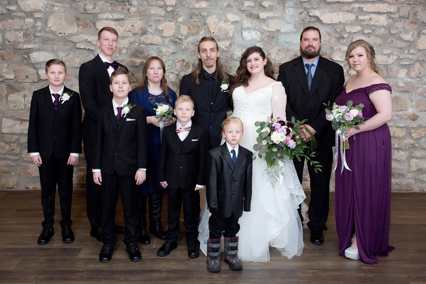 family wedding portrait at Cambridge Mill