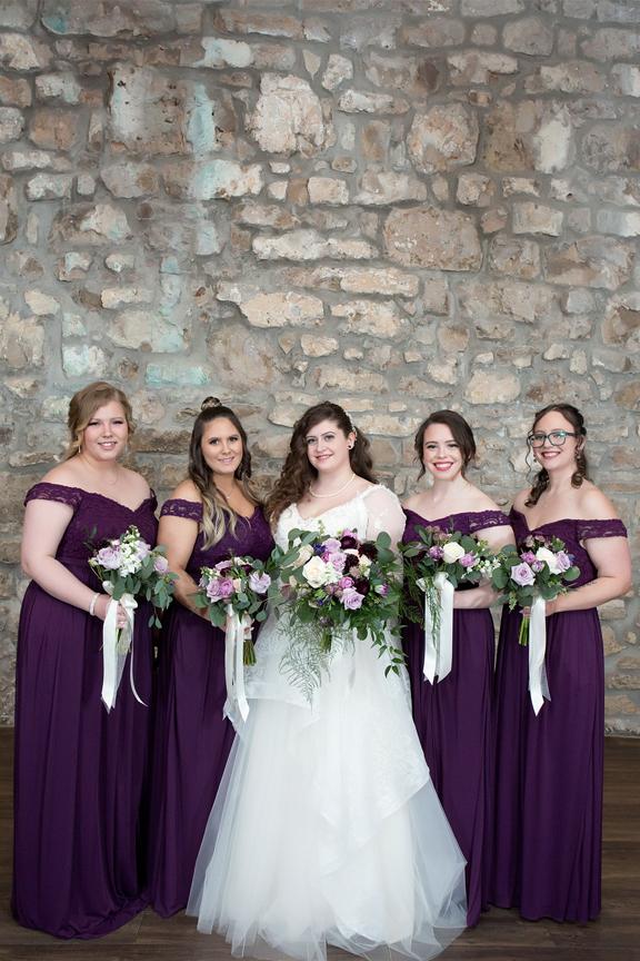 bridesmaids wedding portrait at Cambridge Mill
