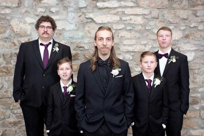 groomsmen wedding portrait at Cambridge Mill