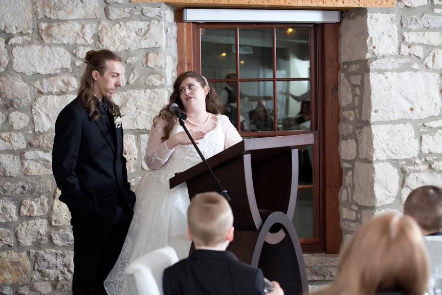 couple speech wedding reception at Cambridge Mill